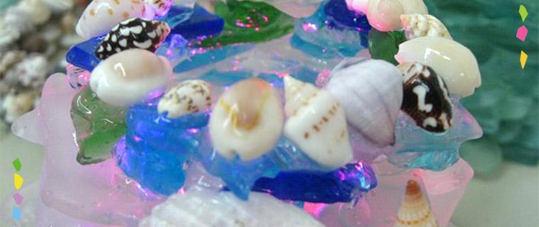 シーグラス・貝殻を使用したランプシェード