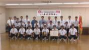八重山高校野球部 石垣市に優勝報告