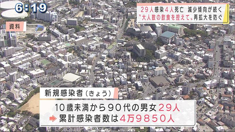 沖縄 新型コロナ29人感染4人死亡 「大人数の飲食を控える意識を」