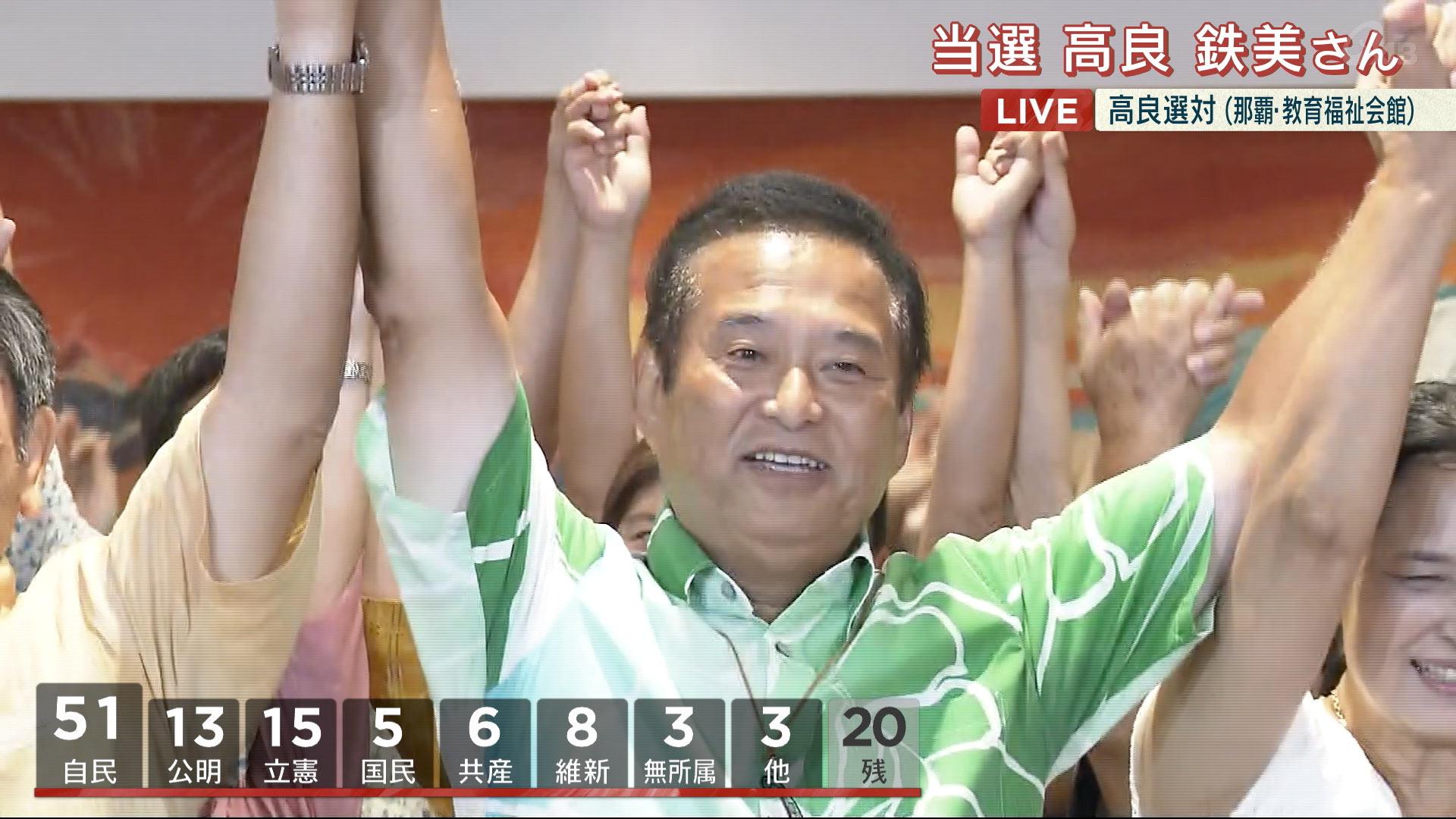 参院沖縄選挙区 高良鉄美さんが当選