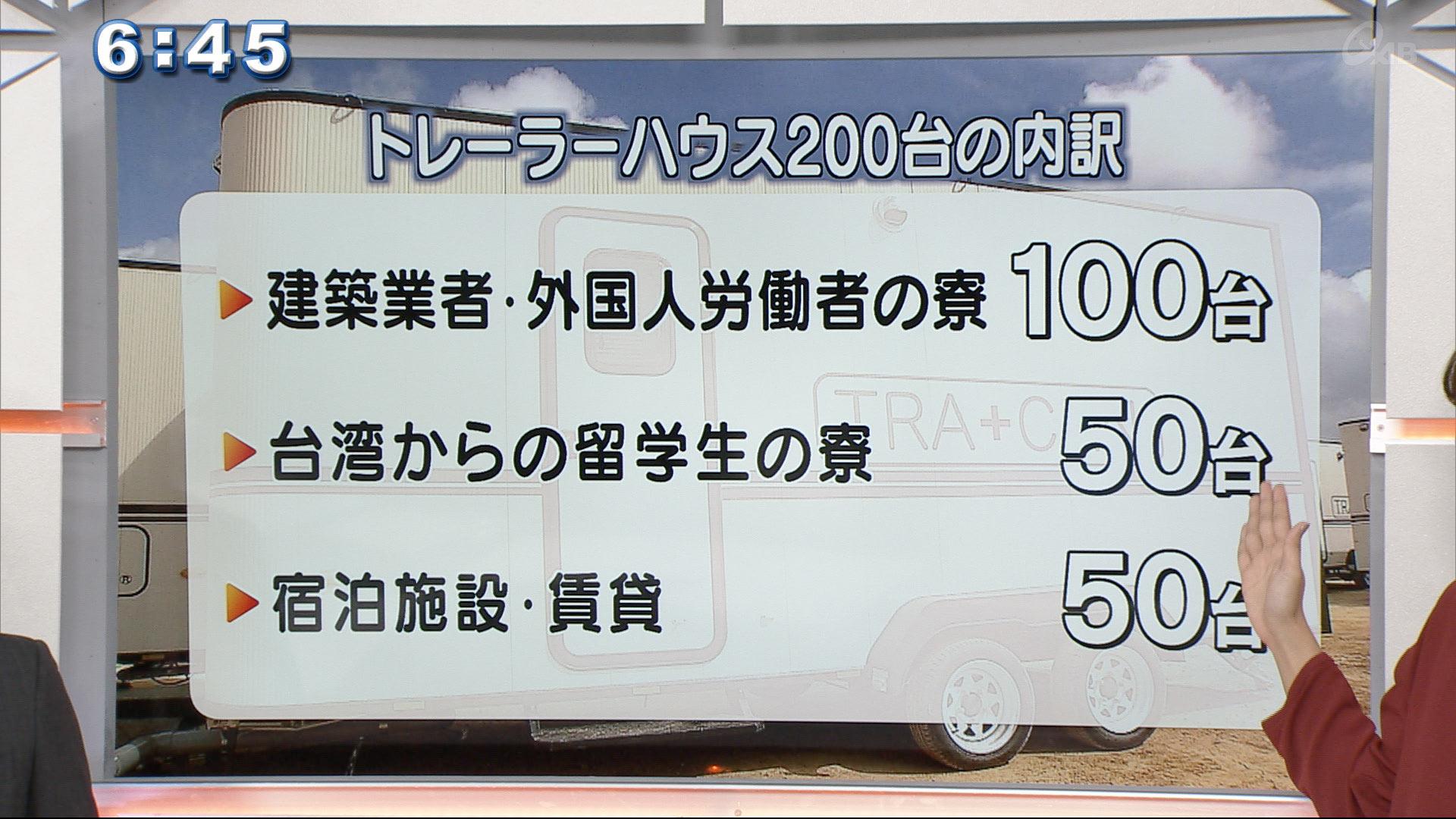 建築業者・外国人労働者の寮100台・台湾からの留学生の寮50台・宿泊施設や賃貸50台