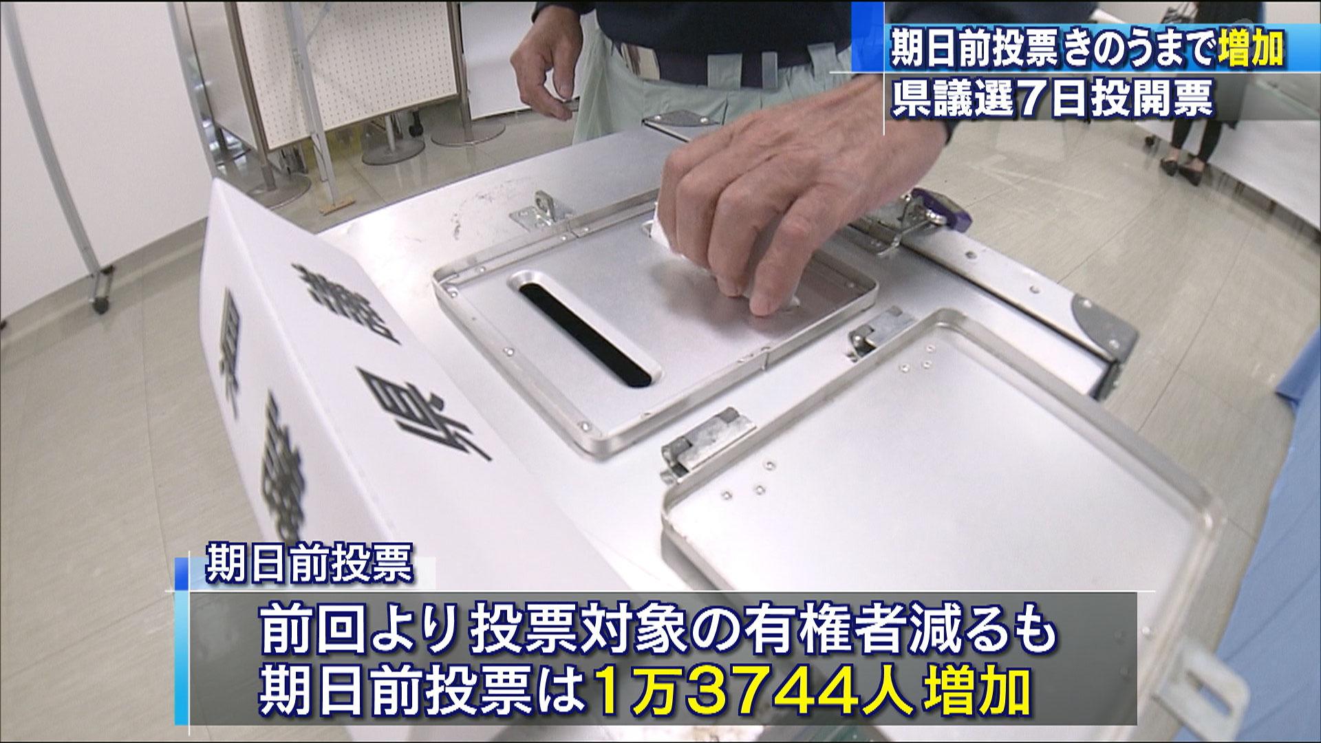 県議選 期日前投票 前回より増加