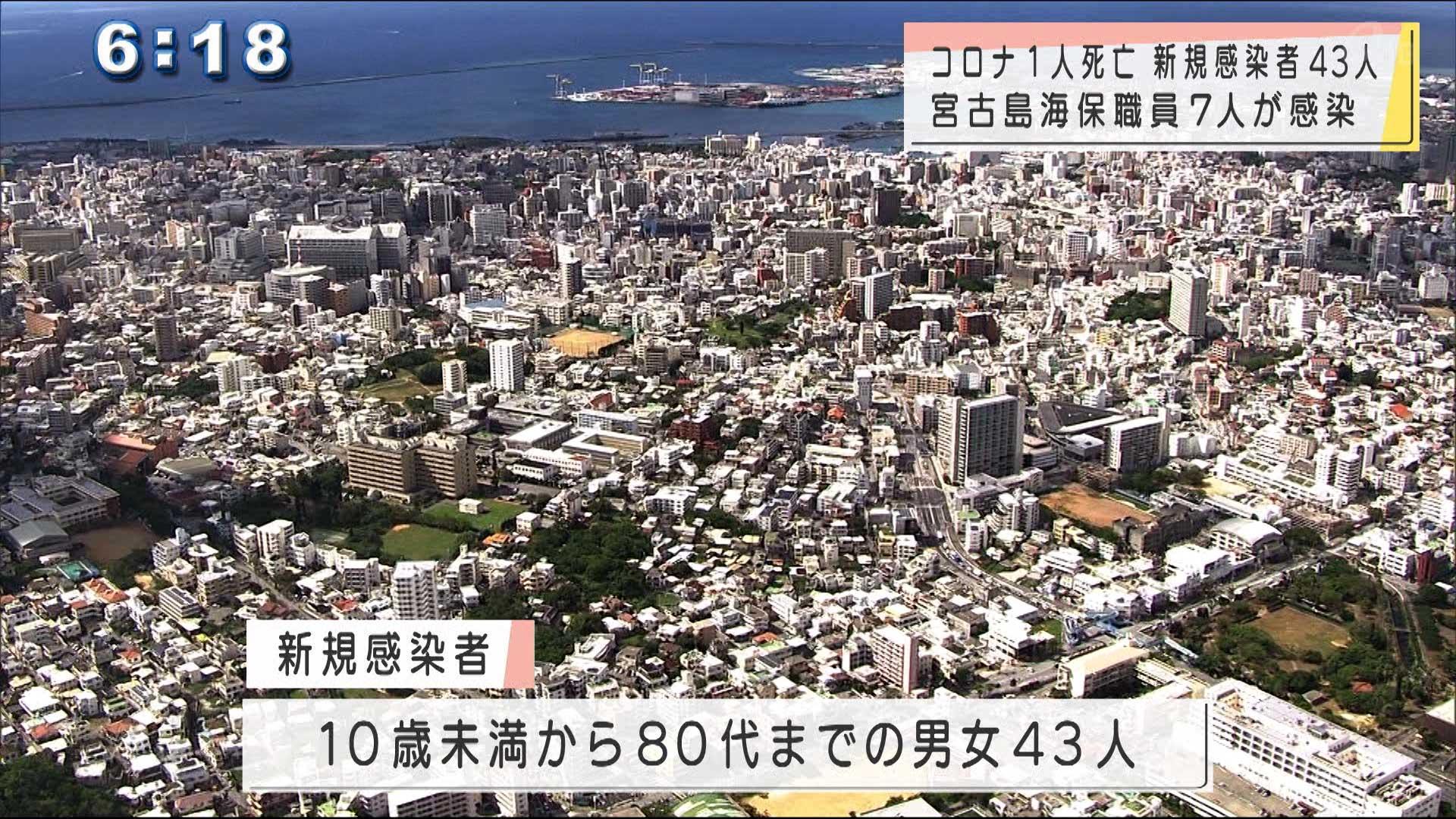 沖縄の新規感染43人死亡1人、海保職員7人感染