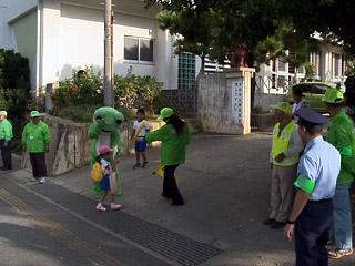 宮古島の北小学校で「あいさつ運動」