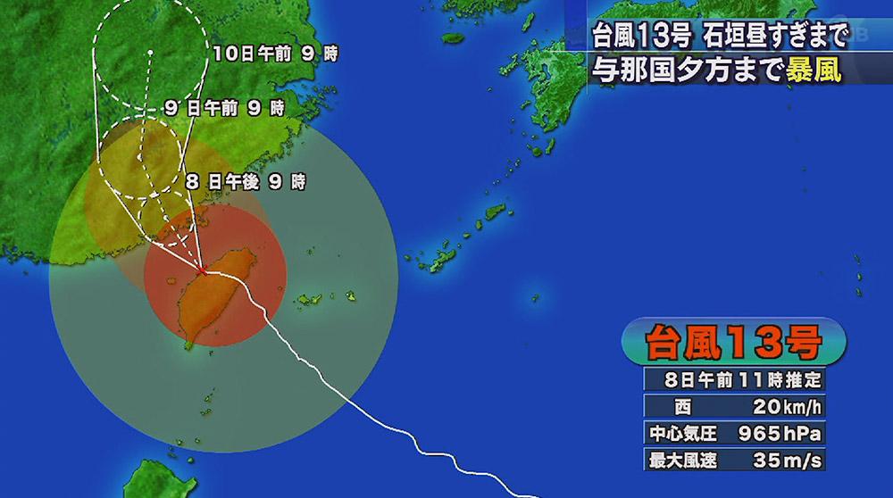 台風13号与那国で64.7m