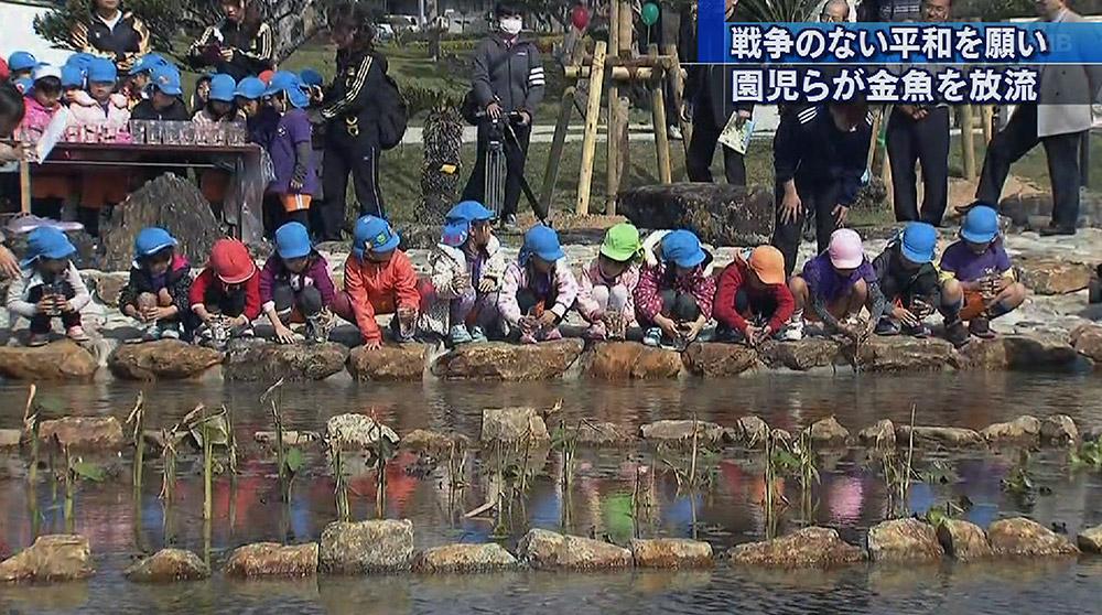 平和祈念公園の池で魚放流会