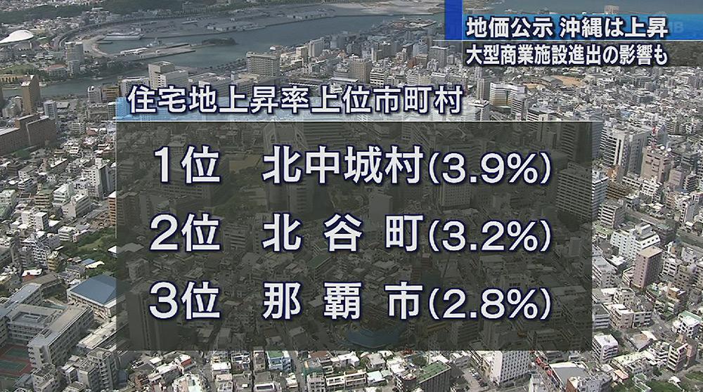 地価公示 沖縄は3年連続上昇