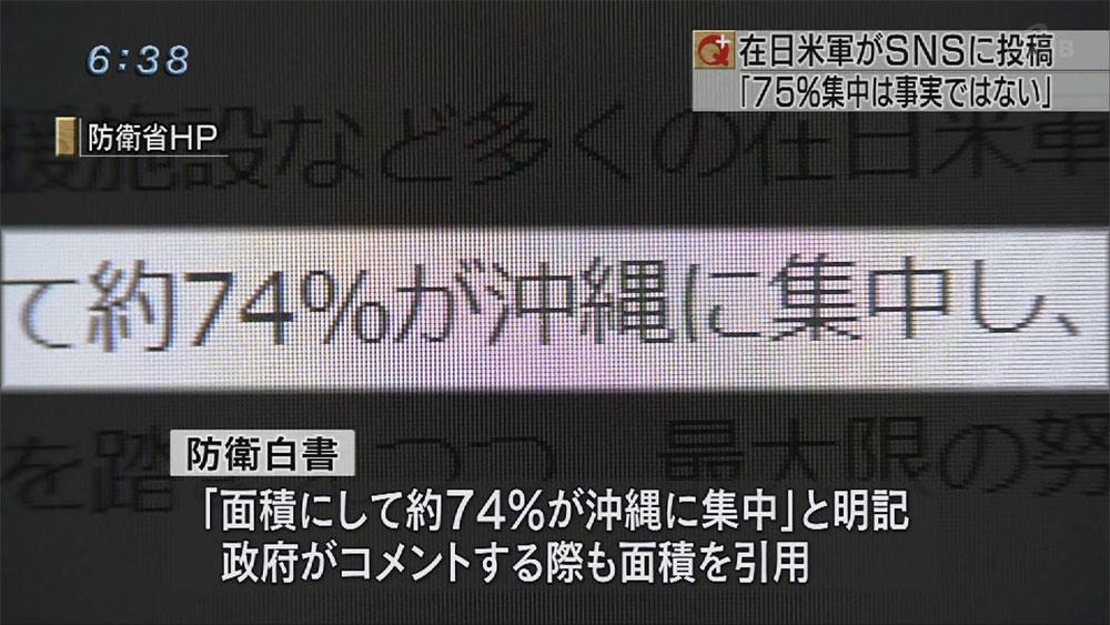 在日米軍司令部 「75%集中事実ではない」
