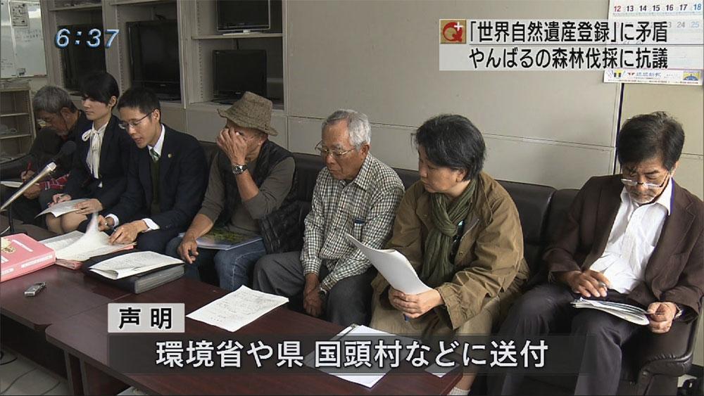 国頭村有地伐採に 環境保護団体が抗議声明