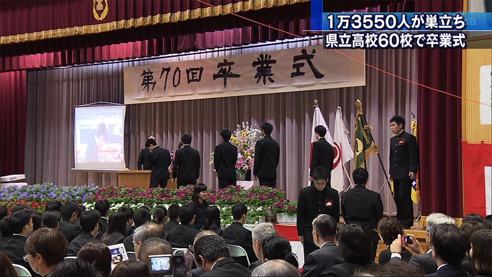 1万3550人巣立ち 県内高校で卒業式