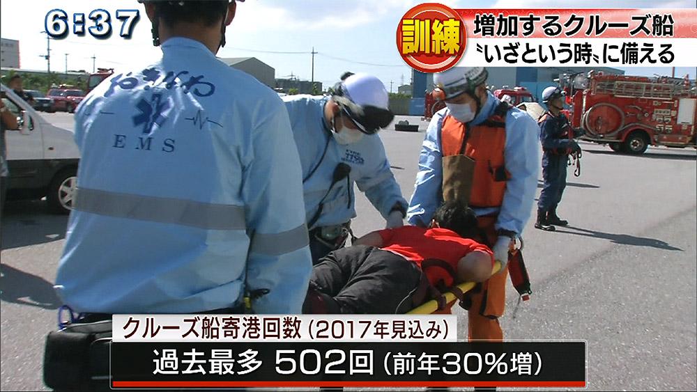 クルーズ船事故を想定 中城新港で大規模救助訓練