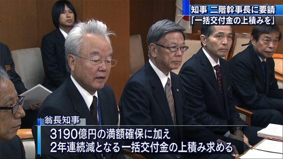 沖縄振興予算で知事が自民幹事長に要請