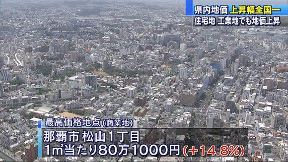 県内地価 上昇幅5.0%全国一