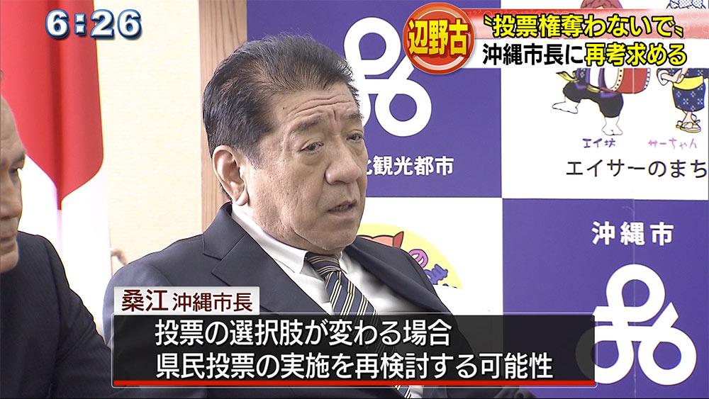 県民投票の会が沖縄市に実施要請