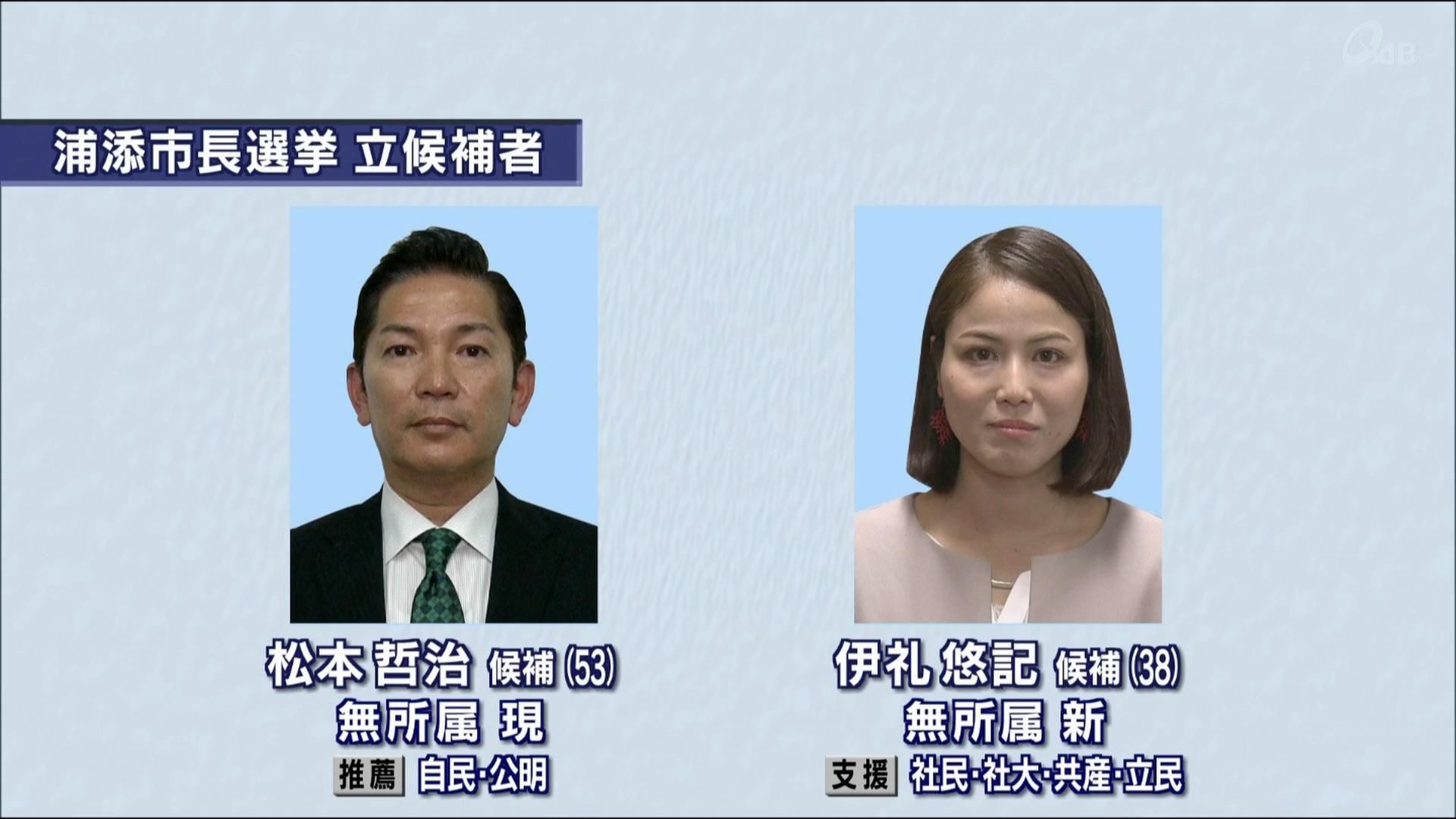 浦添市長選告示 現職と新人の一騎打ち