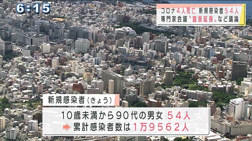 沖縄県の新型コロナ 新規感染者54人 高齢者4人の死亡も確認