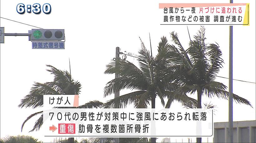 先島諸島に強い雨風をもたらした台風14号が過ぎさって朝を迎えた石垣島では後片付けに追われていました。 濱元晋一郎記者「台風接近から一夜明けた石垣市、天候は落ち着いていますが、まだ風が残っています」 石垣島の港では、小雨の降るなか、船につないだロープをほどいたり、船についた潮やごみを拭いたりする人の姿がありました。朝は強い風が残っていて、ホテルでは建物を守るためにつけたネットを外す作業ができずにいました。 ホテルイーストチャイナシー寺田一郎さん「今回予想していたほどには(被害は)なかったんですけど、行き過ぎた後の風がなかなかおさまらず、後かたずけができなく苦労している」 台風14号によって石垣市では、70代の男性が台風対策中に強風にあおられ2階ベランダから転落し、肋骨を複数箇所骨折する重傷を負っています。 農林水産関係の被害は、八重山地域が現在調査中で、その他の地域については、今のところ、被害は確認されていません。
