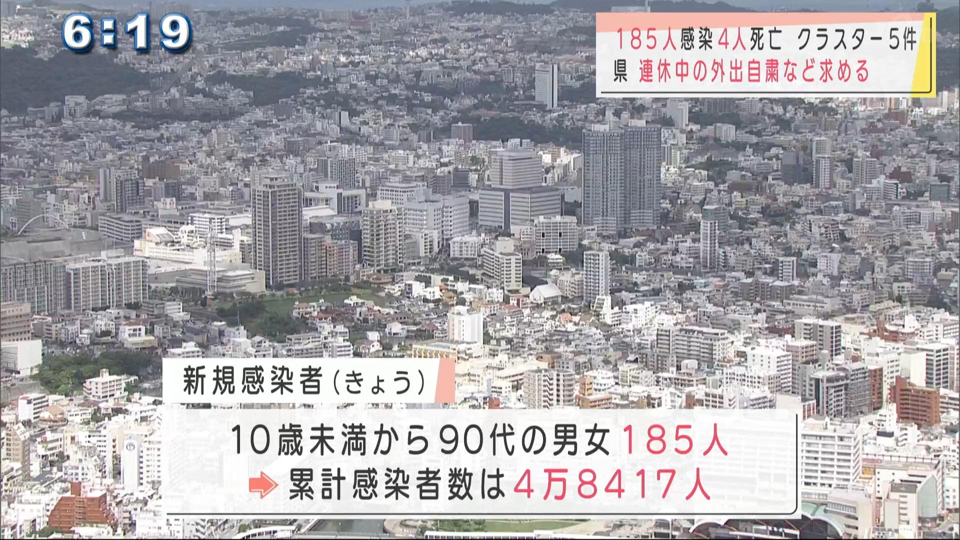 沖縄 新型コロナ185人感染4人死亡 連休中も外出自粛を