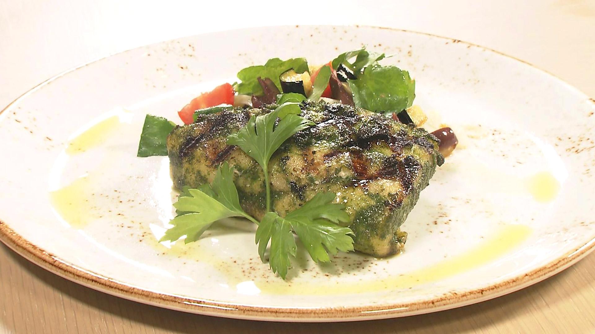 県産ハタの香草オイル焼き シークヮサー風味のサラダ添え